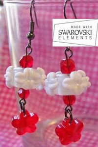Crystal-amp-Lampwork-Earrings-WHITE-LEI-Handmade-with-Siam-Swarovski-Elements
