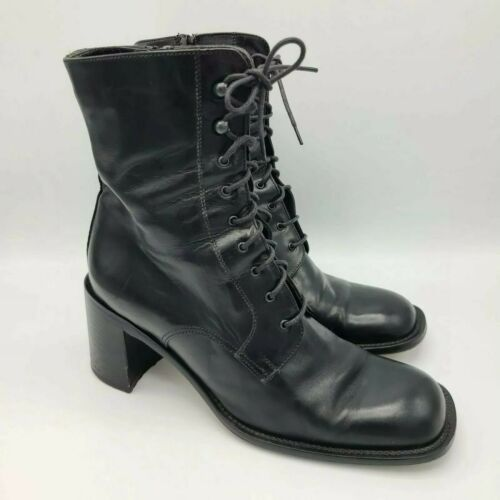 Vintage 90s Womens Joan & David Leather Lace Up Co