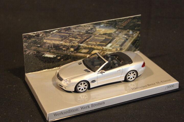 el precio más bajo Minichamps Mercedes-Benz SL-Klasse 2001 1 43 plata plata plata  Werk Bremen  (JS)  Envío rápido y el mejor servicio