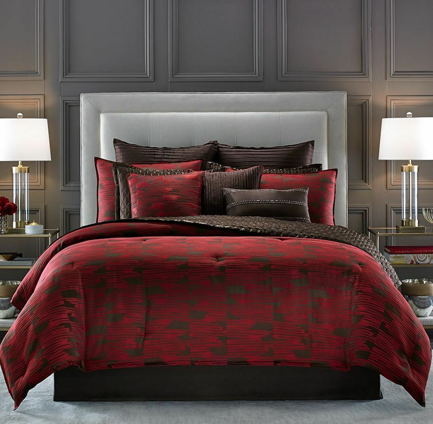 CANDICE OLSON Cascade QUEEN COMFORTER 7pc SET Euros rosso Marronee Modern GEOMETRIC