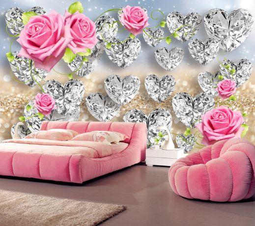 3D Herzförmige Blüten 3 Fototapeten Wandbild Fototapete BildTapete Familie DE
