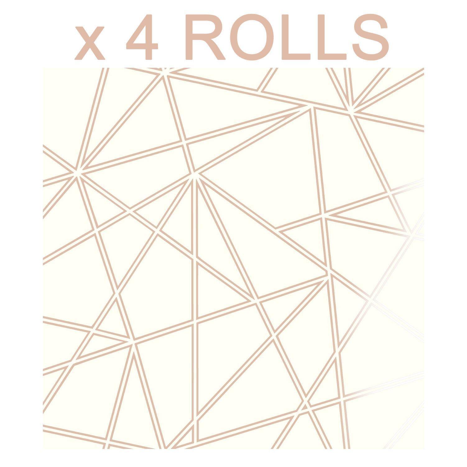 Cream Copper Wallpaper 3d Apex Geometric Pattern Metallic Luxury 4 Rolls