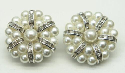 40L Cream # 23 2 PCS Dome Button with Diamante Rhinestone Crystal Pearl  Size