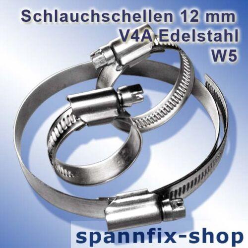 Schlauchschellen 40-60 mm Edelstahl W5 Schnekengewindeschellen V4A Schellen