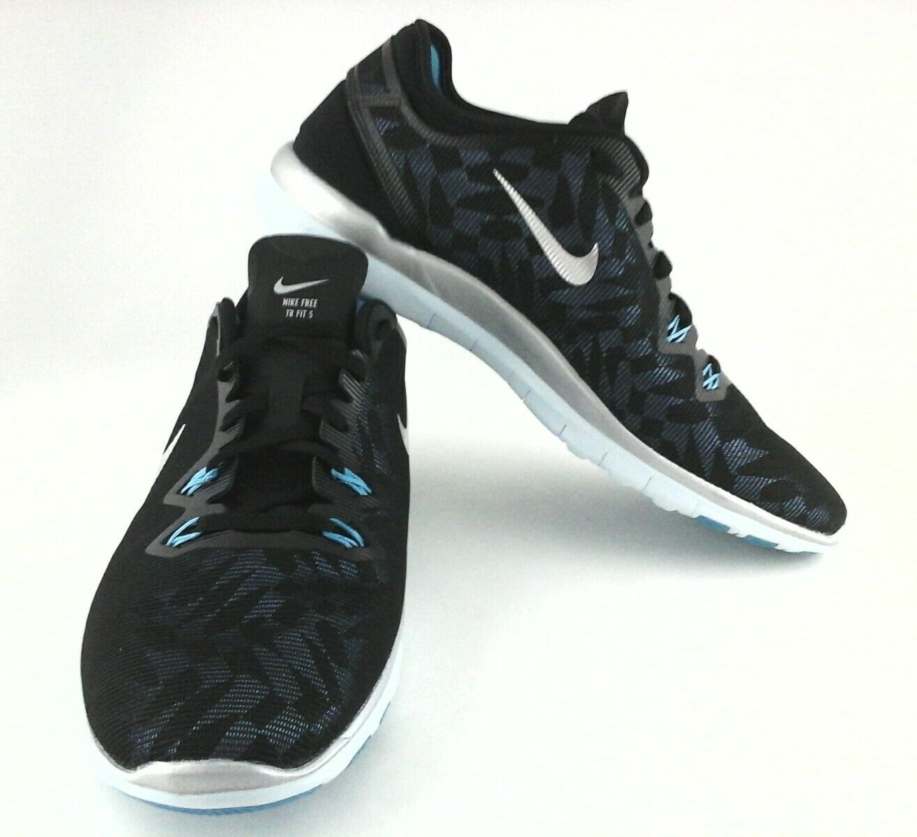 NIKE FREE 5.0 SNEAKERS Shoes Running Blue/Black/Silver Geometric Womens US 10/42
