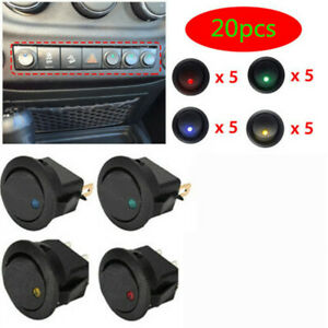 20Pcs-Car-12V-Round-Rocker-Boat-Red-LED-Light-Toggle-SPST-ON-OFF-Switch-12V-20A