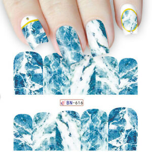Nail-Art-Water-Decals-Stickers-Transfers-Blue-Marble-Effect-Decoration-BN616