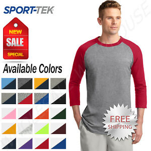2454562eb Sport-Tek Mens 100% Cotton Raglan 3 4 Sleeve Colorblock Baseball T ...