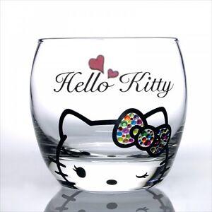Sanrio Hello Kitty x Crystal Scene Rock Glass Cup Tumbler Swarovski Wink JPN NEW