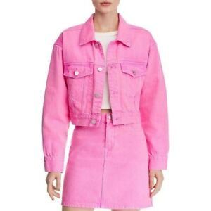 New-BLANKNYC-Cropped-Denim-Jacket-Womens-Size-Medium-Pop-Pink-Button-Down