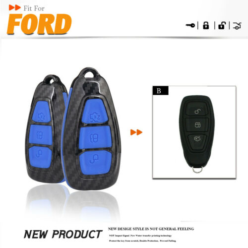 Carbon ford Car Key Case Cover for Ford Fiesta Focus 3 4 MK3 MK4 Mondeo Ecosport