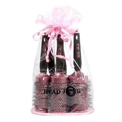 HeadJog Pink Round Ceramic Ionic Brush Set - 5 Hair Tools Brushes