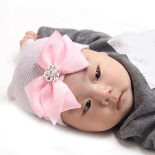Newborn Girl Infant Toddler Bowknot Beanie Cute Hat Hospital Cap Comfy Nice YJ