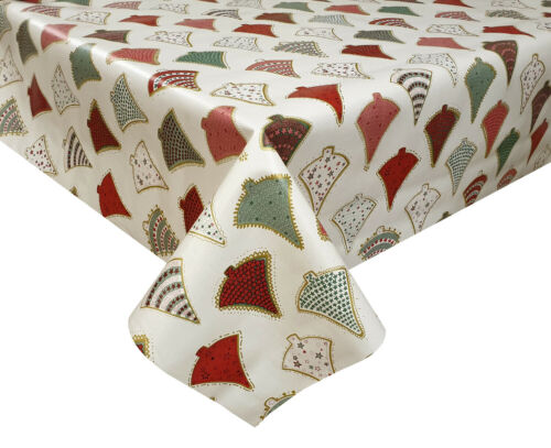 PVC TABLE CLOTH FESTIVE TREES GOLD RED GREEN GREY SILVER STAR DOT XMAS WIPE ABLE