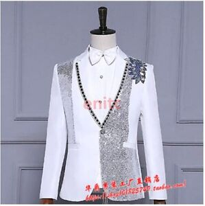 luxuriant in design top-rated official exceptional range of styles Details about Men Glitter Sequins Bling Wedding Blazer Coat Slim Show  Tuxedo Suit Jacket