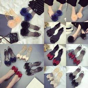 ec1b0ae55 Summer Women Bow Jelly Beach Sandals Flip Flops Flat Shoes Clear ...