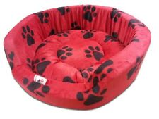 Dog Bed  Red  with Black Paws Design for Puppy and Small Size Dog