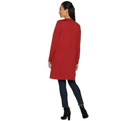 Belle by Kim Gravel Red Long Open Front Cardigan Topper New Christmas Party