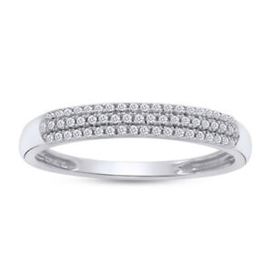 Details About Round Cut Diamond Pave Set Womens Wedding Band Ring 10k White Gold 3 5 Mm