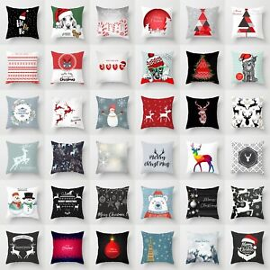 Merry-Christmas-Xmas-Designed-Polyester-Throw-Pillow-Case-Cover-Cushion-18x18in