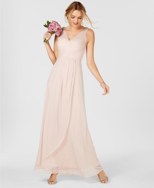 Adrianna Papell Ruched Embellished Gown Size 16 E391 Ebay