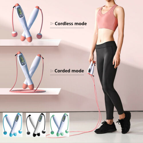 Digital Wireless Cordless Weighted Skipping Jumping Rope Timer Counter Calorie