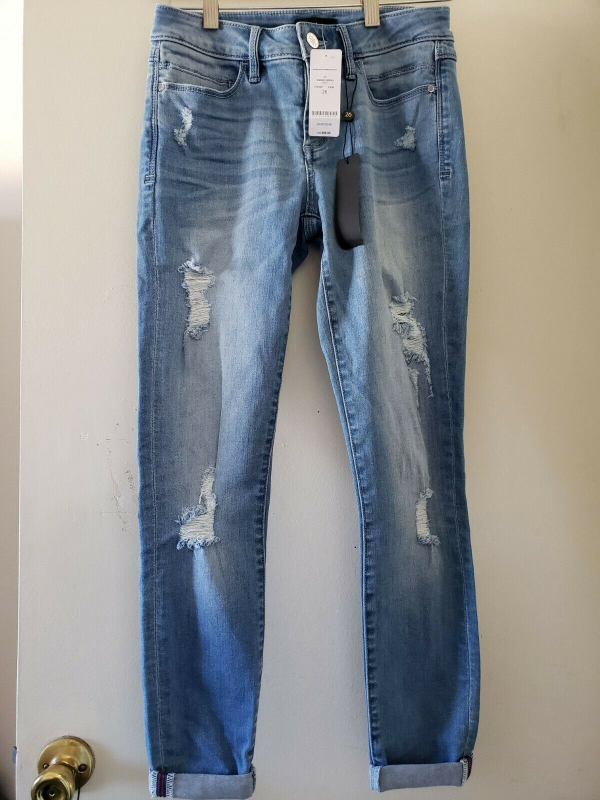 BEBE Destroyed Heartbreaker Skinny Cropped Jeans, Size 26, NWT