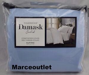 Charter-Club-Damask-Solid-550-TC-FULL-QUEEN-Duvet-Cover-amp-Shams-Horizon-Blue