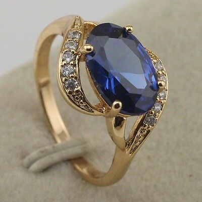 Size 6 7 8 Gallant Blue Sapphire Fashion Jewelry Gift Gold Filled Ring rj1848