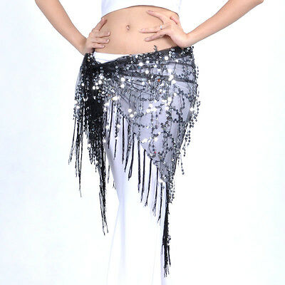 Belly Dance Costume Tribal Triangle Sequins Tassel Hip Scarf Skirt Belt 8 Colors
