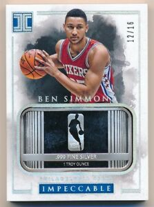 BEN-SIMMONS-2016-17-PANINI-IMPECCABLE-RC-ROOKIE-1-TROY-OUNCE-FINE-SILVER-SP-16