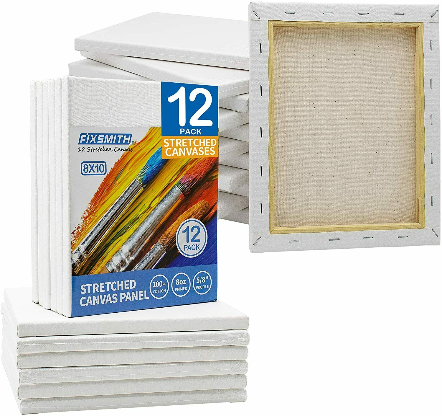 """3//4/"""" Artist Blank Stretched Cotton Canvas Primed, 6 pack"""