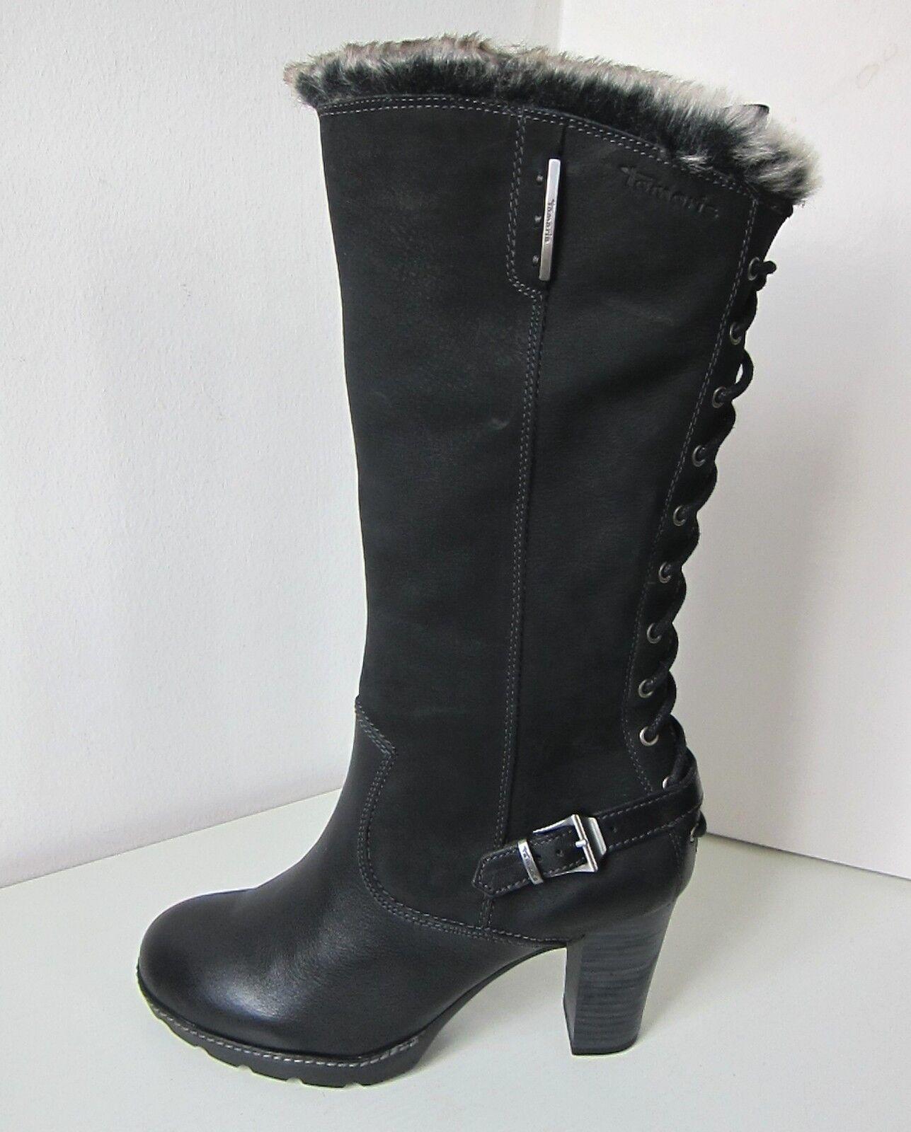 Tamaris vario botas negro Gr. 37 Boots Black Fake ancho fur M-XL