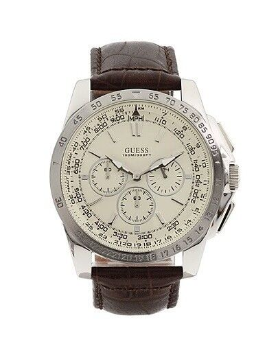 77e017df29479 U13570G2 GUESS Men Chrono Dial Brown Leather Band Watch for sale online