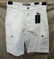 Enyce Casual Cargo Shorts White Relaxed Fit 32
