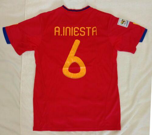 2010 Spain 6 INIESTA retro classic soccer football team home t-shirt jersey tw