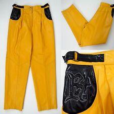 Vtg Womens ROBER Pants 42 M/L Sheep Skin Soft Leather Mustard Yellow High Waist