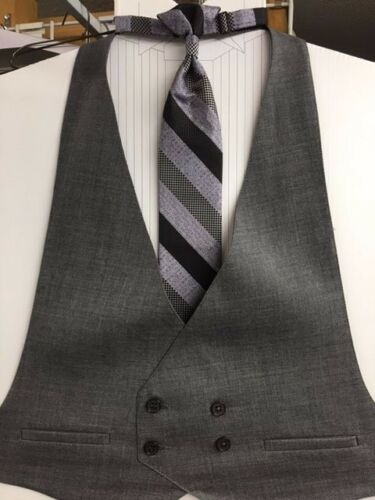 VINTAGE GREY DOUBLE BREASTED OPEN BACKED TUXEDO VEST//EURO TIE SET MENS LARGE