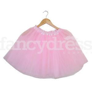 "Light Pink Ladies Girls Tutu Skirt Fancy Dress Ballet Ballerina 3 Layer 17/"" Long"