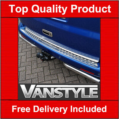 VW T5 REAR BUMPER PROTECTOR COVER STAINLESS STEEL CARAVELLE LOGO 2003-15