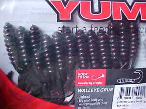 "☆BEST DEAL☆ BLACK NEON RED FLK 4/"" Yum Walleye Grubs 12ct Twister Curly Tail Bass"