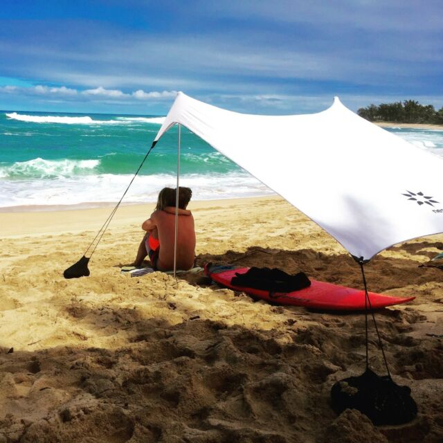 white 7 x 7ft beach tent with sand anchor portable canopy sun shelter outdoor ebay. Black Bedroom Furniture Sets. Home Design Ideas