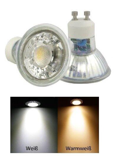 MCOB Glas LED Leuchtmittel 230Volt   7W Spots   Gu10 Dimmbar   36° Leuchtwinkel