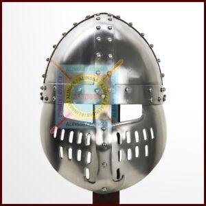 Norman Faceplate Spangenhelm Crudader 18G Steel Templar Spartan Viking Helmet