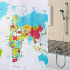World map pattern shower curtain bathroom waterproof fabric screens image is loading world map pattern shower curtain bathroom waterproof fabric gumiabroncs Image collections