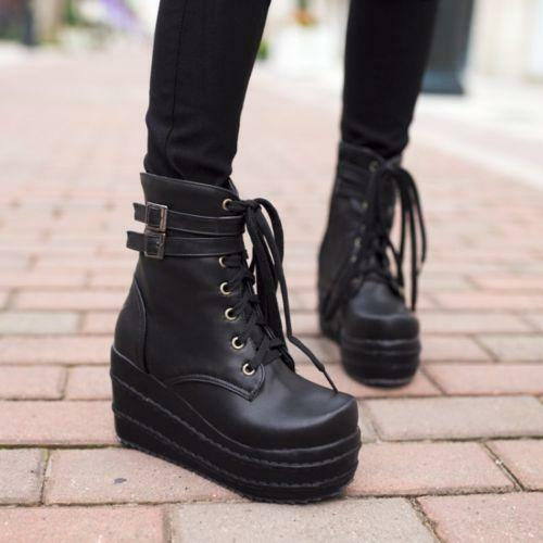 Korean Womens High Platform Wedge Heels Lace Up Goth Ankle Boots Shoes Puls Size