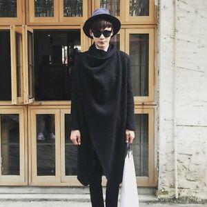 Men-Korean-Irregular-Personality-Woolen-Coat-Jacket-Cape-Cloak-Loose-Autumn-Chic