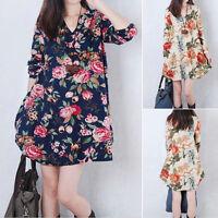 Women A-line Maxi Dress Long Sleeve Loose Cotton Linen Summer Dresses Plus Size