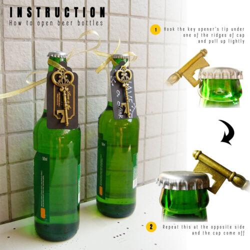 36//50x Antique Key Beer Wine Bottle Opener Party Kitchen Tool Wedding Favours UK