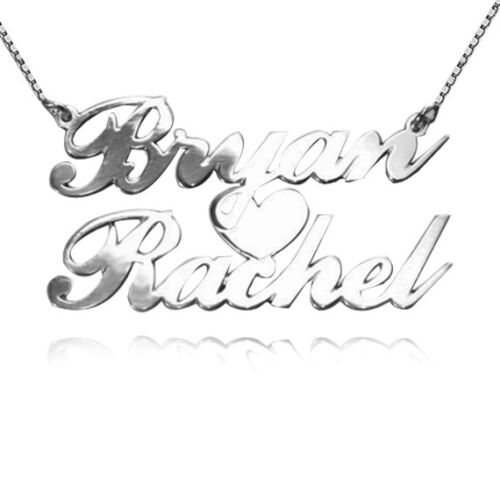 USA Seller Personalized Sterling Silver 2 Names Heart Necklace